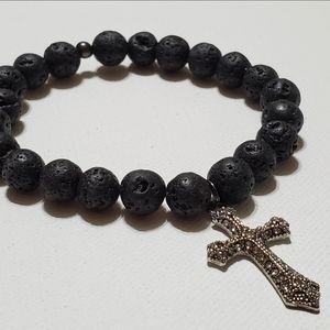 Other - Black Lava Beads Cross Charm Stretch Bracelet